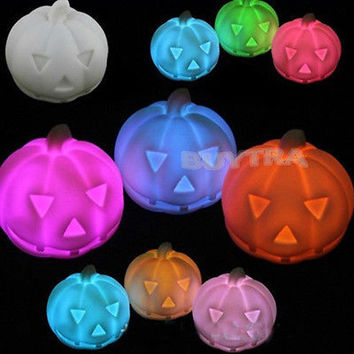 Led Colorful Pumpkin Light Halloween Party Decore Prop Bedside Table Lamp