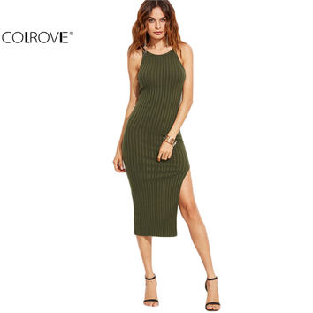 COLROVE Korean Women Dress Winter Autumn 2016 Women Fall Fashion Designer Side Slit Ribbed Cami Dress