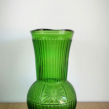 Green Depression Glass Vase, Anchor Hocking Green Vase, Depression Green Glass