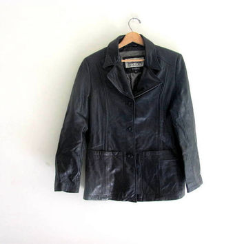 vintage black leather jacket. leather blazer coat. Women's Wilson leather coat. size L