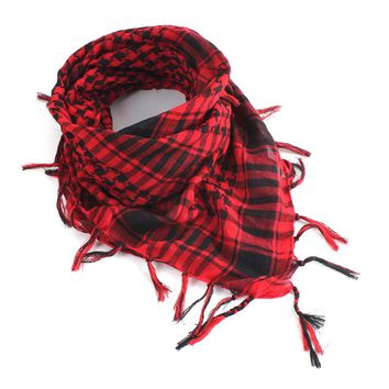 Tactical Unisex Scarf 100x100cm Desert Army Shemagh KeffIyeh Scarf With Tassel Shawl Neck Cover Wraps Plaid Printed Scarf