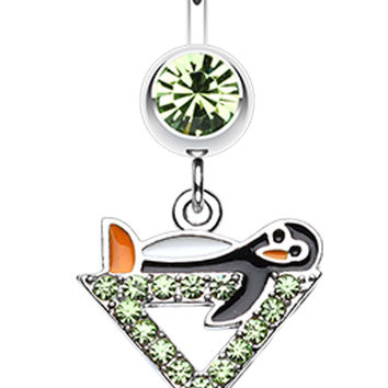 Happy Penguin Hour Martini Belly Button Ring