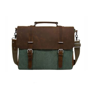 Vintage Canvas Leather 14.7 Laptop Messenger Bag Men Satchel