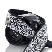 Camera Strap dSLR, Floral, Black, White, Grey, Camera Neck Strap, Photographer Gift, Canon or Nikon, SLR, 26