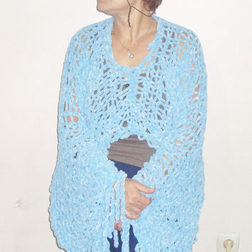 Knitted Blue Poncho - Maternity Clothes Poncho Shawl