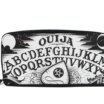 Liquor Brand Black Magic Ouija Board and Planchette Zip Around Clutch Wallet