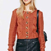 Cooperative Cropped Cable Cardigan Sweater-