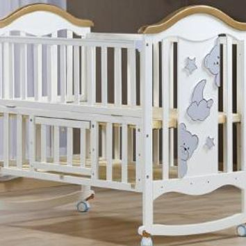 Cradle crib wood Europe type multifunctional white baby bed. Baby beds with mosquito nets