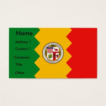 Business Card with Flag of Los Angeles, California
