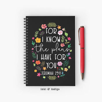For I know The Plans I Have For You - Spiral Notebook With Lined Paper, A5 Writing Journal, Diary, Lined Journal, Floral Scripture, Faith