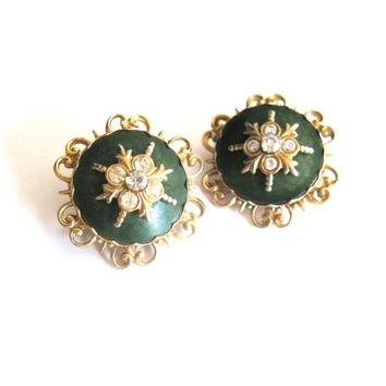 Pair of Green Gold Plate Rhinestone Brooches 1960s