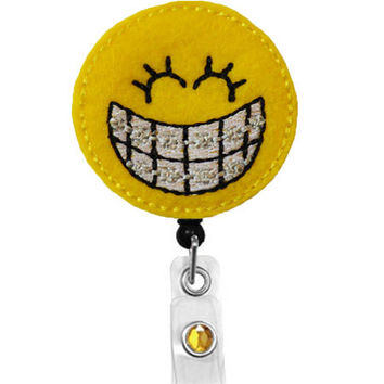 Smiley Orthodontist with braces-Name Badge Holder -Dental Badge Reels -Dental Assistant Badge clip-Dental Hygienist-Braces-Teeth-Retractable