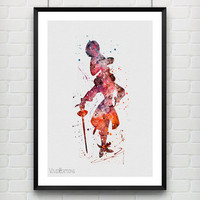 James Hook Poster, Peter Pan Disney Watercolor Art Print, Baby Nursery Art, Kids Decor, Home Decor, Not Framed, Buy 2 Get 1 Free! [No. 140]