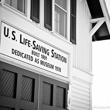 US Lifesaving Station in Black and White, Boardwalk Photograph, Ocean City, Maryland, Lifeguard, Beach, Wall Art, Home Decor,