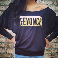 Feyonce - Gold FEYONCE OUTLINE Off the Shoulder Long Sleeve Tee