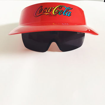 Vintage, Coca Cola, Red, Plastic, Collectible, Flip Down Sunglass, Unisex, Elastic,  Visor