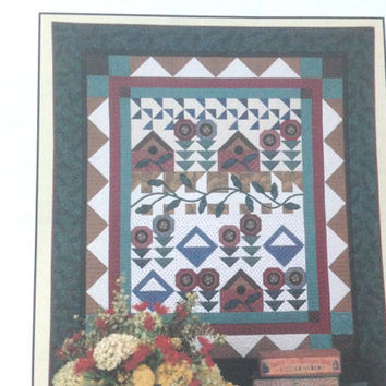 Patchwork Garden, Applique Quilt Pattern, Flower Pattern,  Houses and Baskets, Thimbleberries