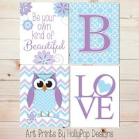 Nursery Decor Purple Blue Nursery Art Toddler Girls Room Beautiful Girl Nursery Wall Decor Monogram Print Owl Nursery LOVE typography #0867