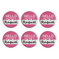 Raquel Hello My Name Is Plastic Resin Button Set of 6