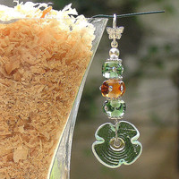 Dngling Lampwork Earrings, Handmade Flower Glass Beads Earrings, Green, Amber,  Sterling Silver Hook