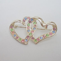 Vintage Brooch, Two Hearts Brooch, Retro Brooch, Colourful Rhinestone Brooch, Silver Tone Brooch, UK Seller