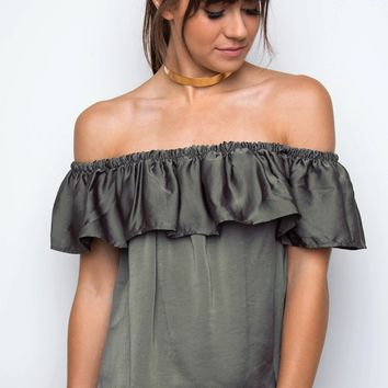 Sophie Off The Shoulder Top - Olive