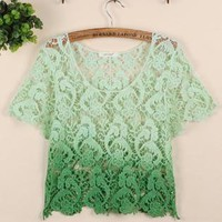 Graduated Lace Cropped Top