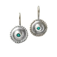 Round Earrings, Natural Blue Turquoise, Gemstone, circle, Gift for her, silver earring, Jewelry, Earrings, unique earring, Everyday Earrings