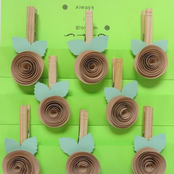 Rustic wedding favors, Tan paper quilling rose magnetic bag clips, Clothespin magnet set of 8, work organization, photo hanger