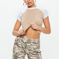 Missguided - Nude Contrast Raglan Sleeve Crop Top