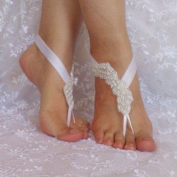 Pearl barefoot sandals shoe elegant beach wedding accessories bridal shoe