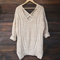 oversize cross back knit sweater - marle natural