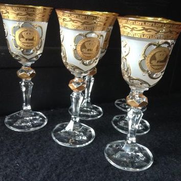 Czech bohemia crystal glass - Liquer glasses decorated engraving and gold 14cm (the price is for 6 glasses)