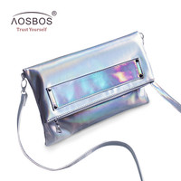 Aosbos Women Foldable PU Leather Handbags High Quality Solid Shoulder Bags Ladies Envelope Messenger Bag Holographic Clutch Bag-in Shoulder Bags from Luggage & Bags on Aliexpress.com | Alibaba Group