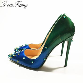 DorisFanny multi colored heels Shoes Pointed Toe Women Pumps Rivet Studded For Wedding