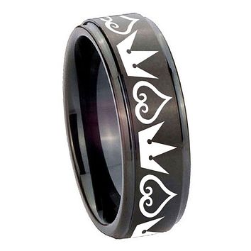 8MM Step Edges Black Hearts and Crowns Tungsten Carbide Laser Engraved Ring