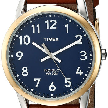 Timex Men's Easy Reader Leather Strap Watch Brown/Two-Tone/Blue