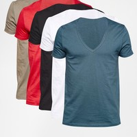 ASOS T-Shirt With Deep V Neck 5 Pack SAVE 20%