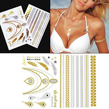 Righteous Lotus Metallic Jewelry Tattoos - Beautiful Gold and Silver Necklace and Bracelet Tattoos for Women (Sofia Collection - 2 Sheets)