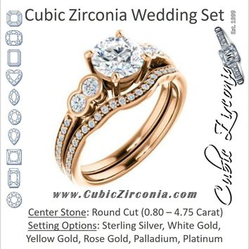 CZ Wedding Set, featuring The Eneroya engagement ring (Customizable Enhanced 5-stone Round Cut Design with Thin Pavé Band)