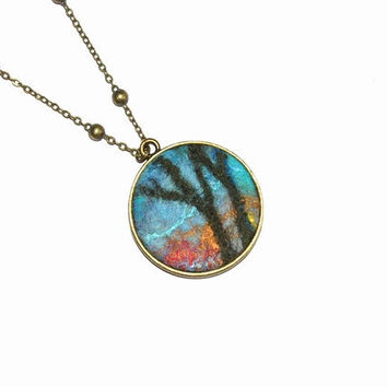Felt Pendant Necklace Fall of the leaves Blue Gold Red OOAK