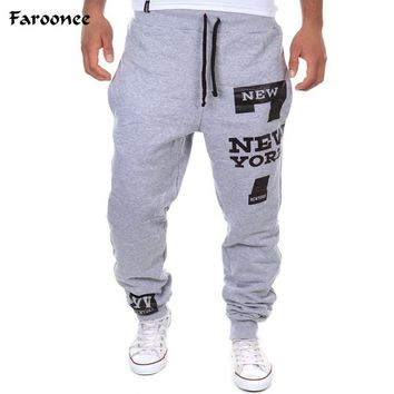 Faroonee New Men's Pants 7 New York Letter Print Sweatpants Joggers Male Cotton Lace-up Casual Trousers Pants Plus Size 3XY379