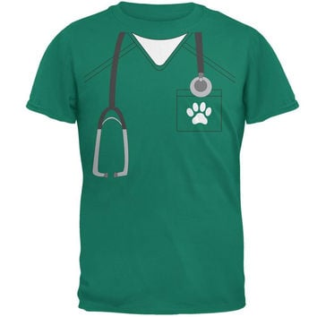 Halloween Vet Veterinarian Scrubs Costume Jade Green Adult T-Shirt