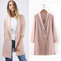 Solid Color Long Sleeve Double Breasted Blazer in Pink or White