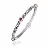 Round Milgrained Amethyst Stationed Bangle in 18K Yellow Gold and Sterling Silver
