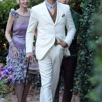 Custom Great Gatsby Dress White Slim Suit for Groom Wedding Tuxedo Men Suits 2 pieces