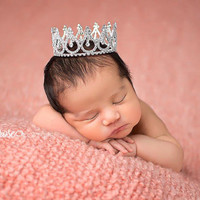 Newborn Tiara, Newborn Rhinestone Crown, Mini Crown, Newborn Photo Prop, Baby Tiara, Maternity Prop, Cake Topper