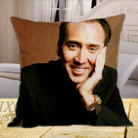 Nicolas Cage Smile on Square Pillow Cover