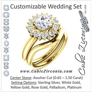 CZ Wedding Set, featuring The BettyJo engagement ring (Customizable Asscher Cut featuring Cluster Accent Bouquet)