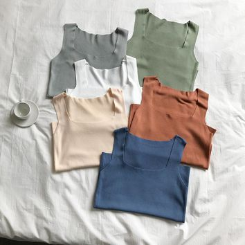 Summer Korean Women Knit Crop Tops U Neck Sleevelss Candy Color Fitness White Thin Tank Tops Cami